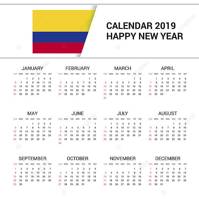 Calendario Colombiano.Calendario 2019 Colombia Fondo De Bandera Idioma Ingles 20