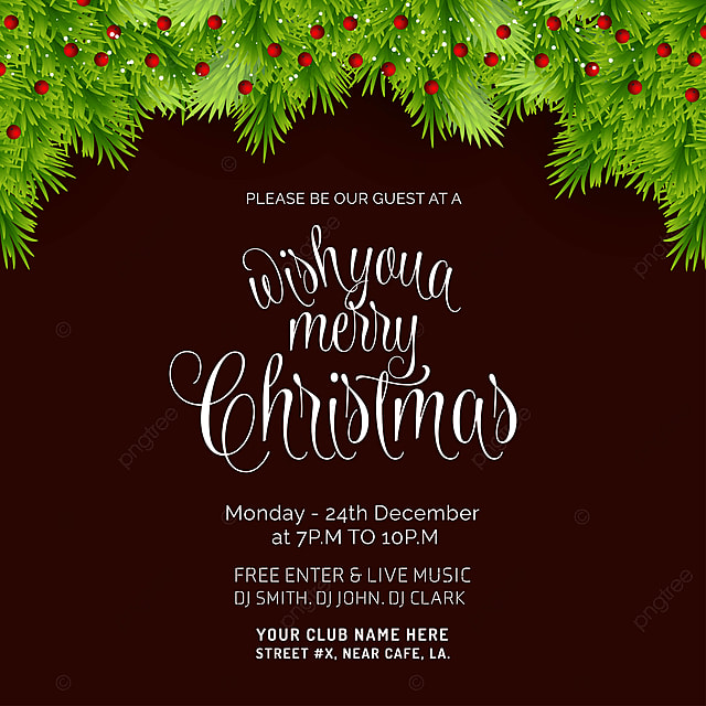 Merry Christmas Bokeh Background Invitation Card Template