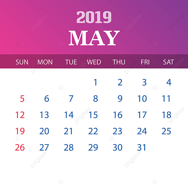 2019 Calendar Template May, 2019, 2020, Annual PNG and