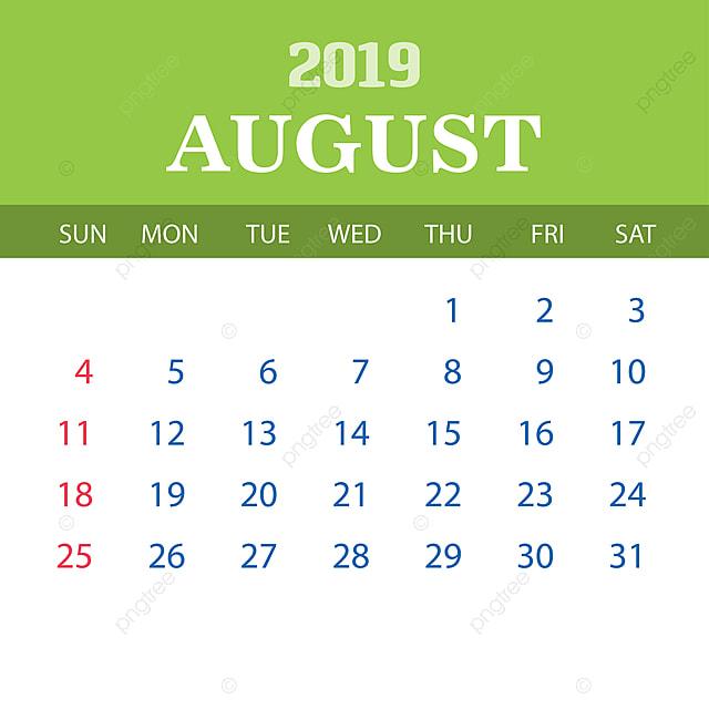 Calendario De Agosto 2020.Plantilla Calendario Agosto 2019 2019 2020 Anual Png Y Vector Para