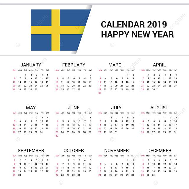 Calendario 2019 English.Calendar 2019 Sweden Flag Background English Language 2019
