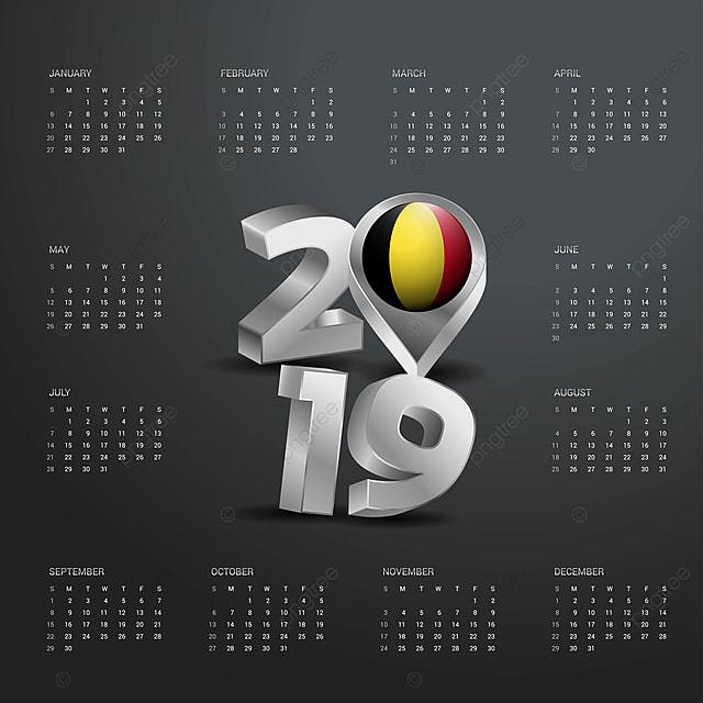 2019 Calendrier Avec La Belgique Pays Modèle De La Carte Grise Avril