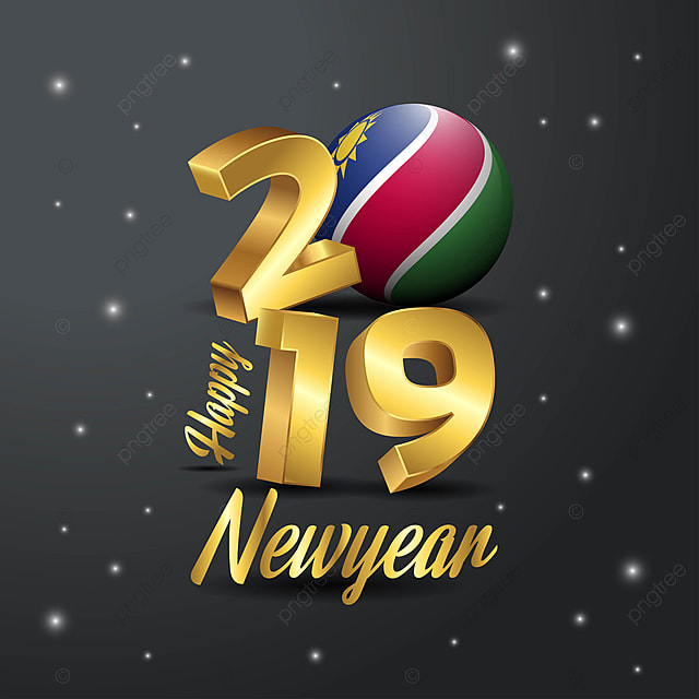 2019 Happy New Year Namibia Flag Typography Abstract
