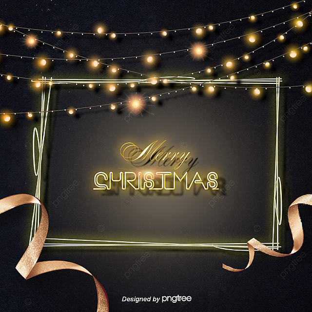 To The Black Gold Christmas Lights Background Image Neon Effect Lighting