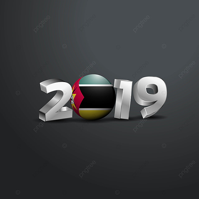 2019 Grey Typography With Mozambique Flag Happy New Year
