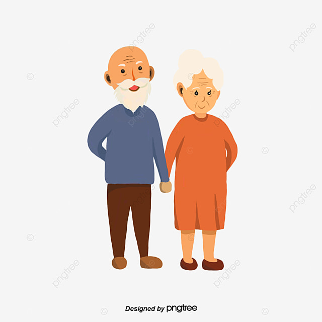 The Old Man And Woman Holding A Blue Dress Orange An Old Man Hand