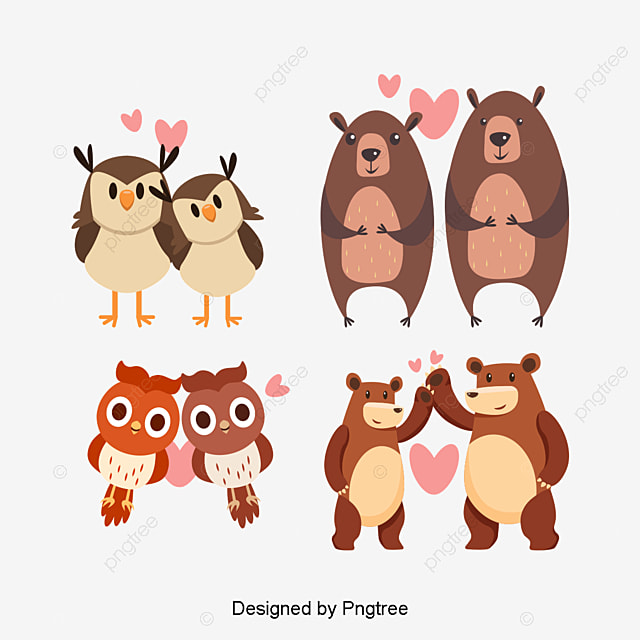 Valentines Day Animal Lovers Illustration Animal Cartoon Lovely Png Transparent Clipart Image And Psd File For Free Download