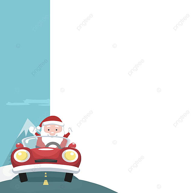 Christmas Card Of Santa Claus In Car With Blank Sign To Write