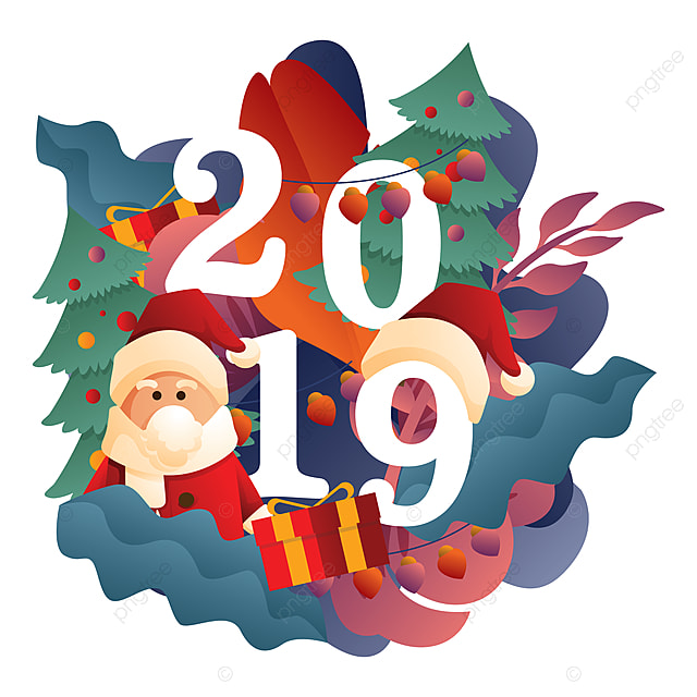 happy new year floral ornament with santa claus png christmas holiday png and