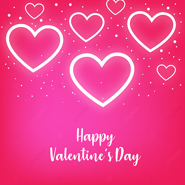 Happy Valentines Day And Background Glow Hearts Pink Hearts