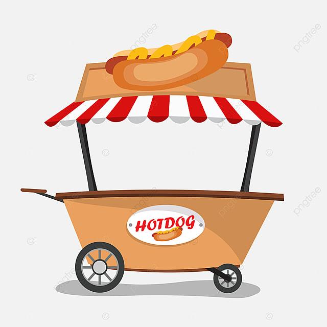 hot dog vendeur dans le chariot contexte business caf u00e9 png