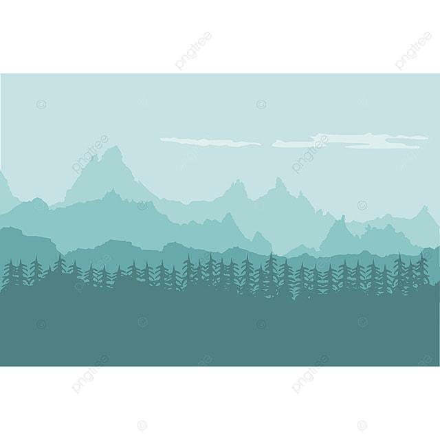 Gambar Latar Belakang Lanskap Pegunungan Dengan Hutan, Clipart Gunung, Alam,  Gunung PNG Dan Vektor Dengan Latar Belakang Transparan Untuk Unduh Gratis