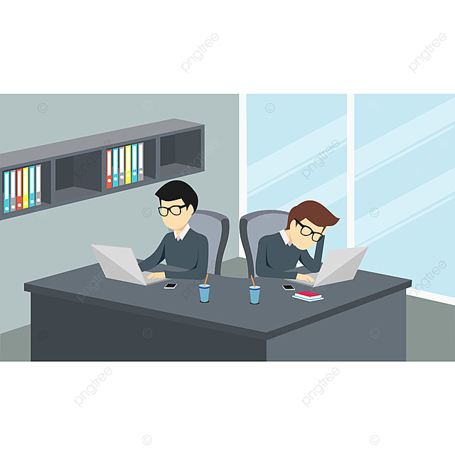 Gambar Orang Orang Yang Bekerja Di Sebuah Kantor Dengan Komputer Kerjasama Rangkaian Pekerjaan Png Dan Vektor Untuk Muat Turun Percuma