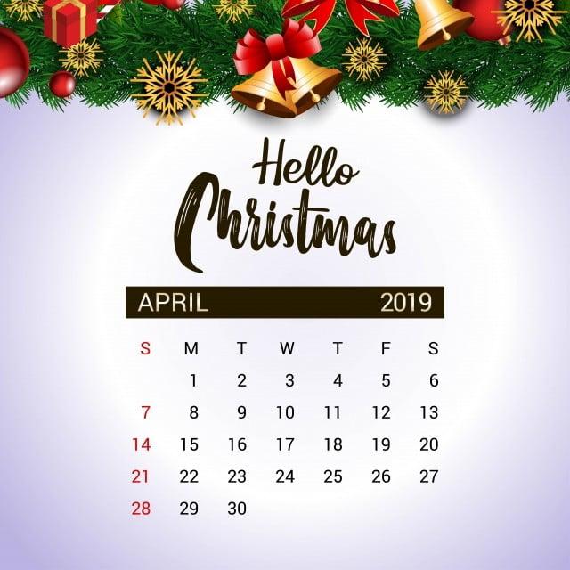 Christmas 2019 Calendar.2019 April Calendar Design Template Of Christmas Or New Year