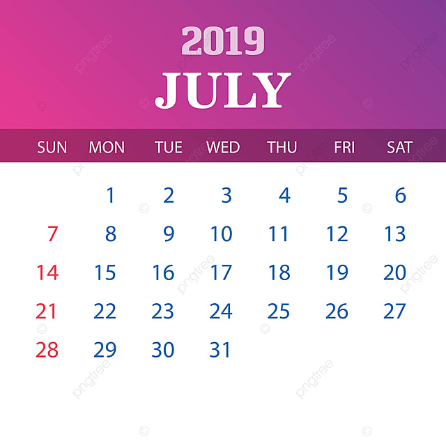 Calendario Julio 2019 Vector.2019 Calendar Template July 2019 2020 Annual Png And