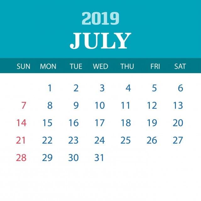 Calendario Anual 2020 Para Imprimir Gratis.Plantilla Calendario De Julio 2019 2019 2020 Anual Png Y