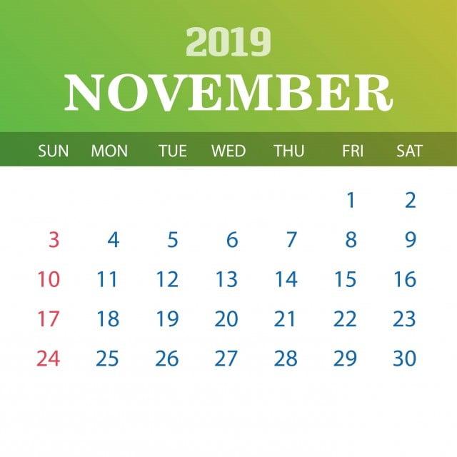 Calendario Noviembre 2019.Calendario Plantilla Noviembre 2019 2019 2020 Anual Png Y Vector