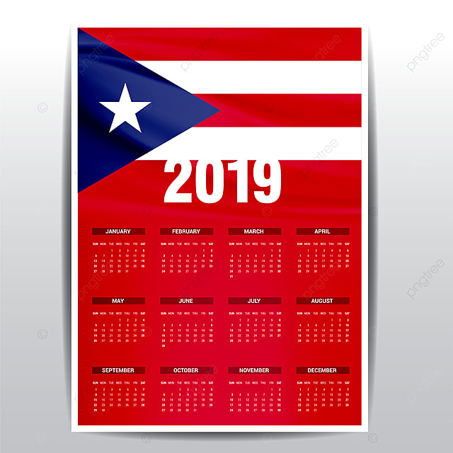 Calendar 2019 Puerto Rico Flag Background English Language