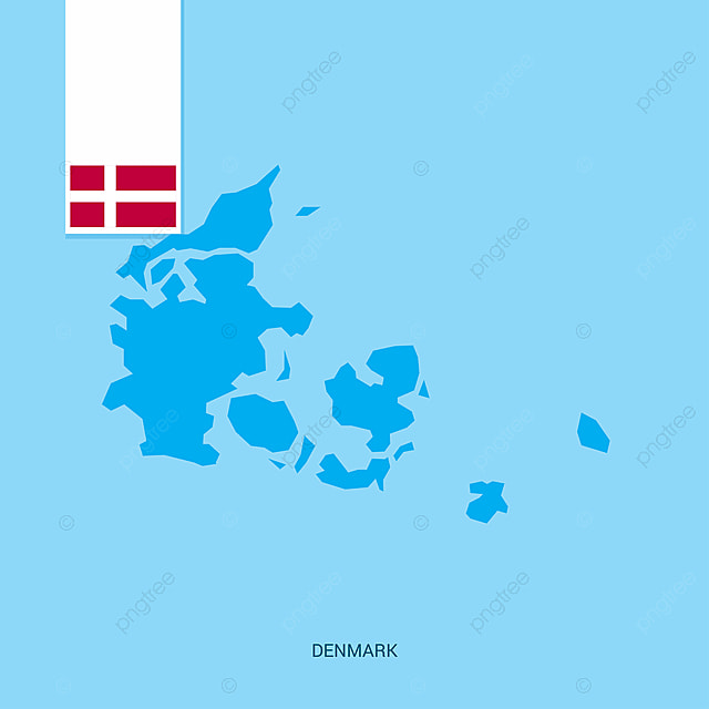 Denmark Country Map With Flag Over Blue Background, 5, 5th, Country on
