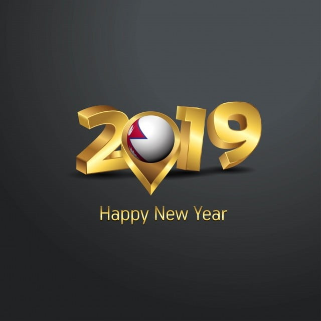 Happy New Year 2019 Golden Typography With Nepal Flag