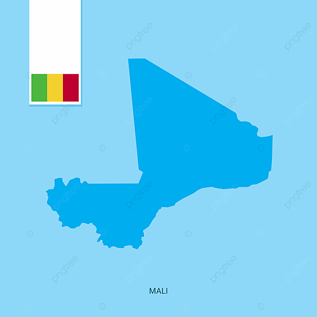 Mali Country Map With Flag Over Blue Background, Africa, African ...