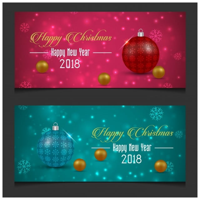 Merry Christmas And Happy New Year Christma Banners In Dark Pin