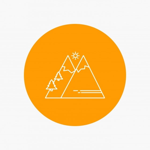 mountains nature outdoor sun hiking white line icon in circl