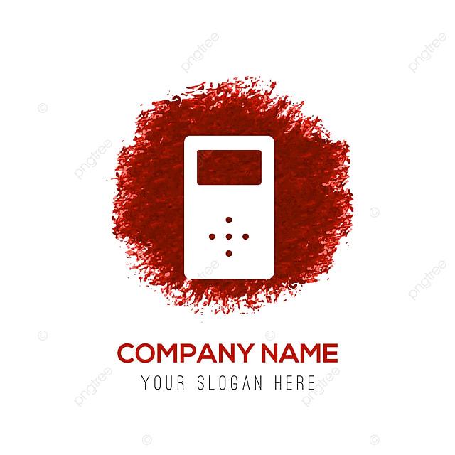MP3 Player Icon Aquarela Vermelho Círculo Splash App Aplicação Audio
