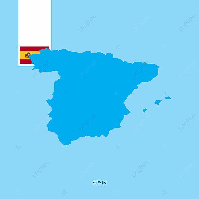 Carte Espagne Telecharger.Espagne Carte Avec Drapeau Sur Fond Bleu 12 12e Pays Png Et Vecteur