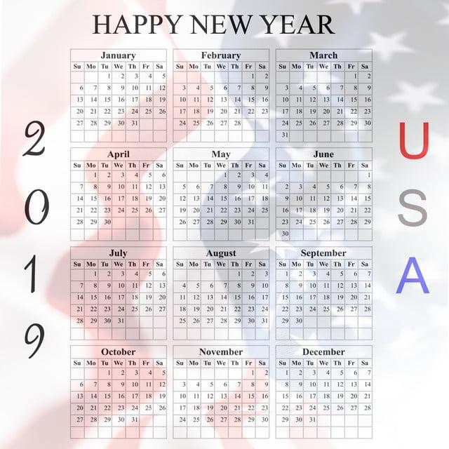 2019 American Calendar, Calendar 2019, Calendar American ...