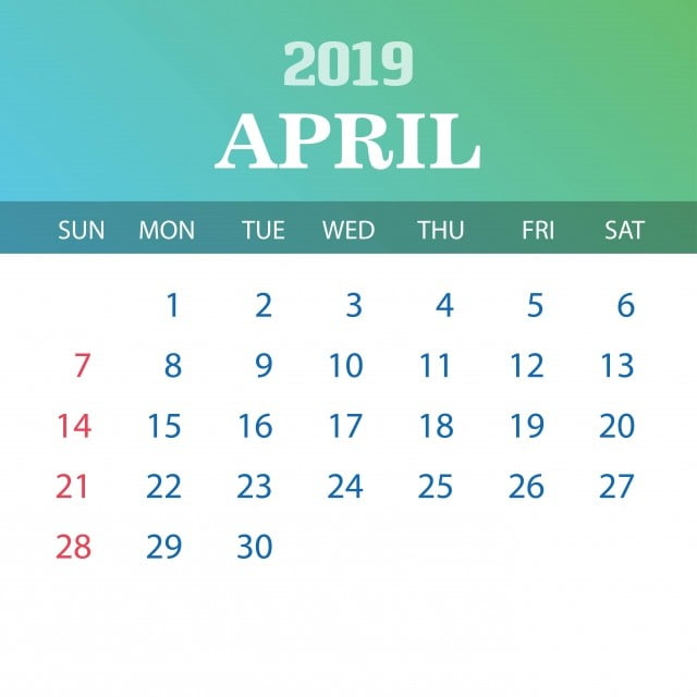 2019 Calendar Template April, 2019, 2020, Annual PNG and