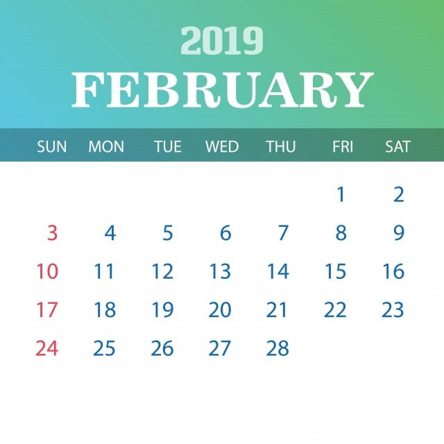 شباط فبراير 2019 التقويم قالب 2019 عام 2020 سنوي Png