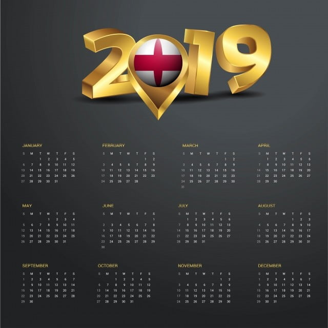 Map Of England Template.2019 Calendar Template England Country Map Golden Typography He