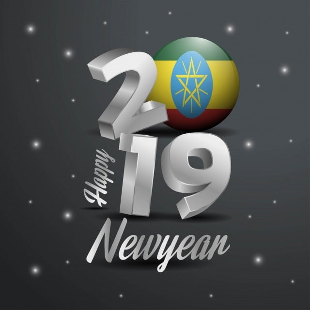 2019 Happy New Year Ethiopia Flag Typography Abstract Celebrati