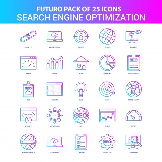 25 Blue And Pink Futuro Search Engine Optimization Icon Pack