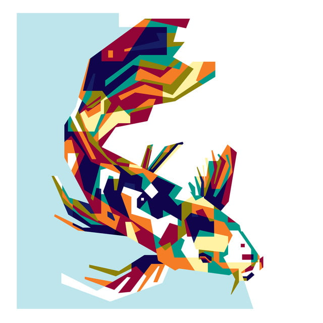 Colorful Koi Fish Abstract Line Wallpaper Png And Vector