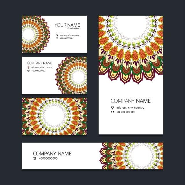 Mandala Broschüre Und Visitenkarte Design Abstract Ad