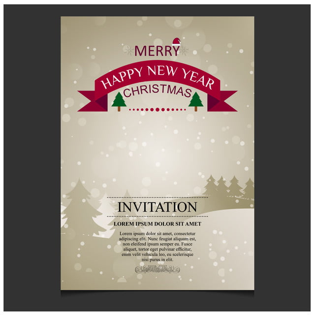 Merry Christmas Happy New Year Christmas Invitation Card