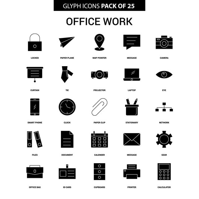 Office Work Glyph Vector Icon Set, Business, Businessman