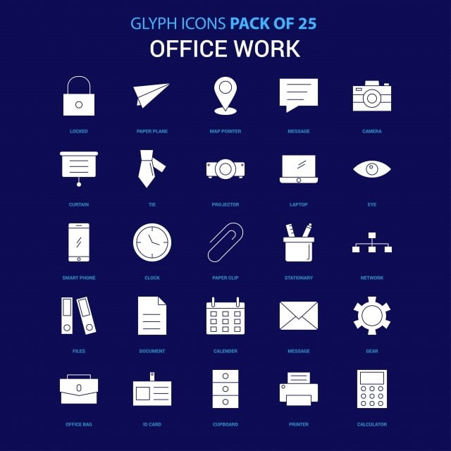 Office Work White Icon Over Blue Background 25 Icon Pack Icons Converter Icons Fitness Icons Maker Png And Vector With Transparent Background For Free Download