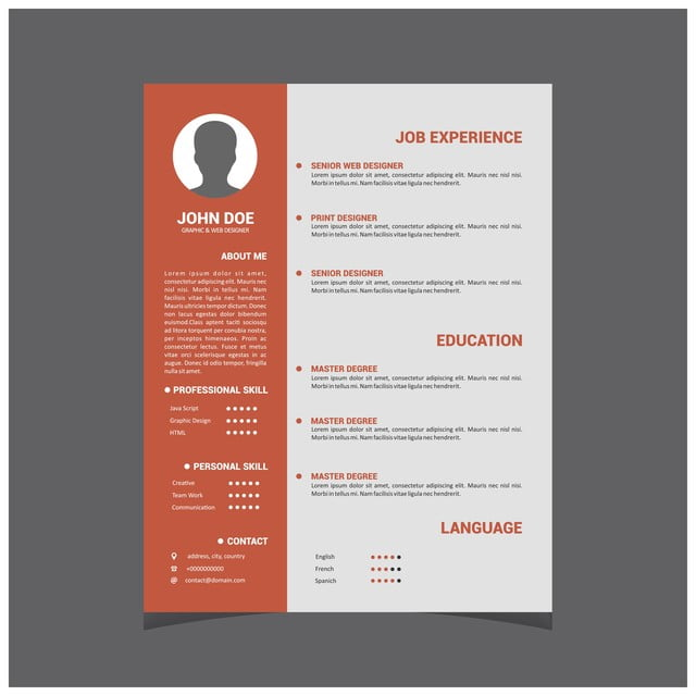 Professional Cv Resume Template Design For A Creative Person 3d