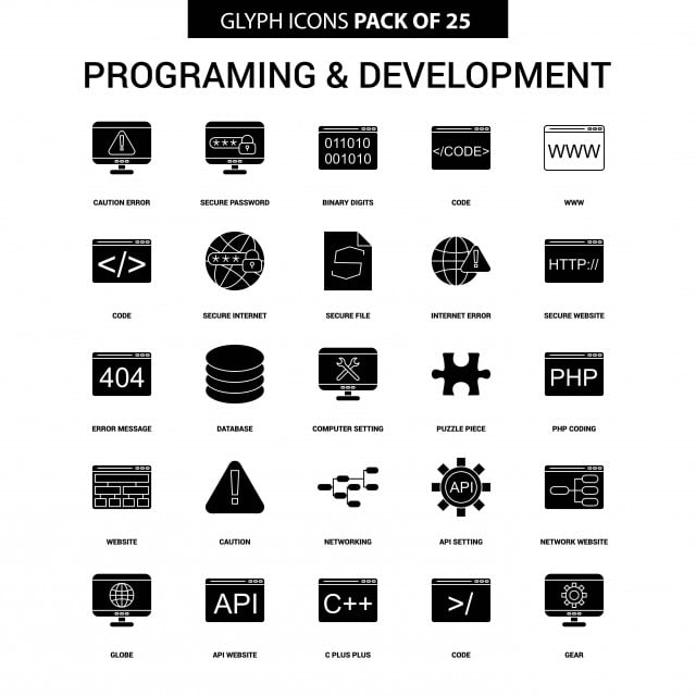 c7d79760eae Programming And Developement Glyph Vector Icon Set
