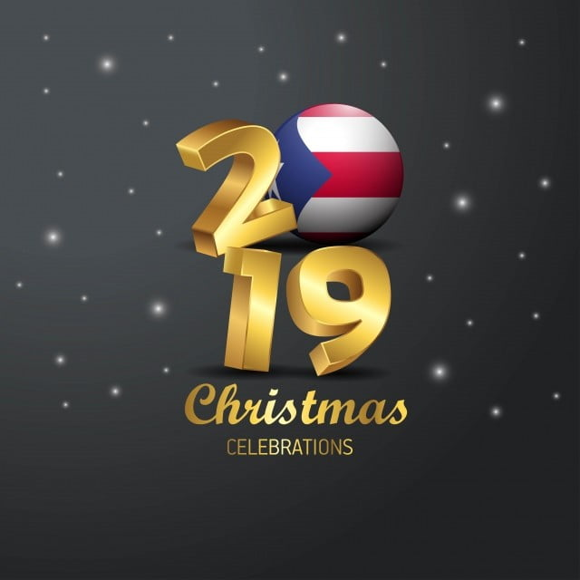 Puerto Rico Flag 2019 Merry Christmas Typography New Year