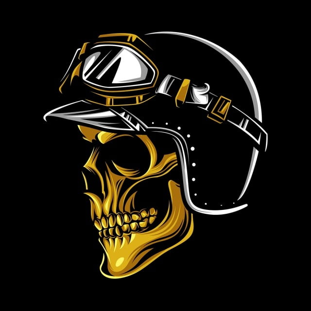 Skull Rider, Skull, Motorcycle , Helmet PNG And Vector With