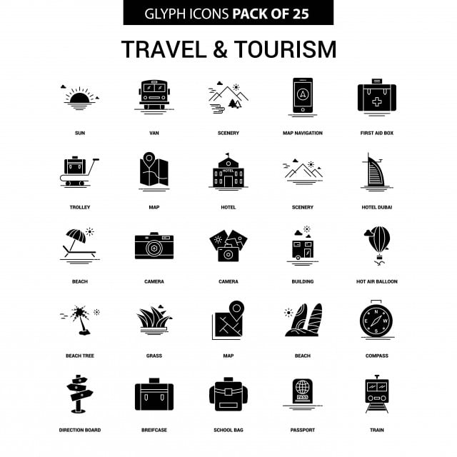 Travel And Tourism Glyph Vector Icon Set, Beach Tree, Beach
