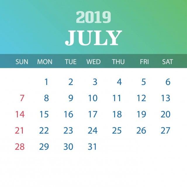 Calendario Saldi 2020.Template Luglio 2019 2019 2020 Annuale Png E Vector Per