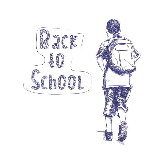 Kembali Ke Sekolah Sketsa Orang Anak Laki Laki Kembali Ransel Anak