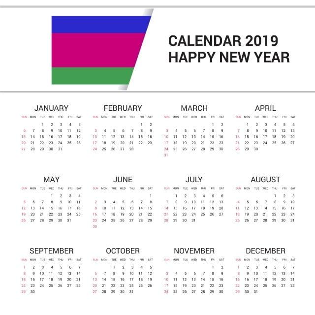 Calendrier Francais 2019.Calendrier 2019 Kuban Republique Populaire Drapeau