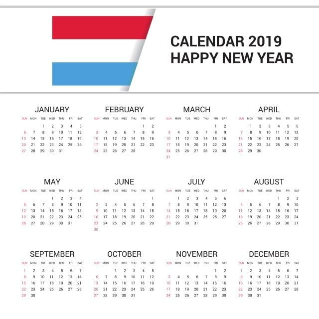 Calendario 2019 English.Calendar 2019 Luxembourg Flag Background English Language