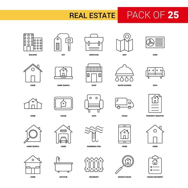 Immobiliare Linea Nera Icona 25 Imprese Descrizione Set Di Icone ...